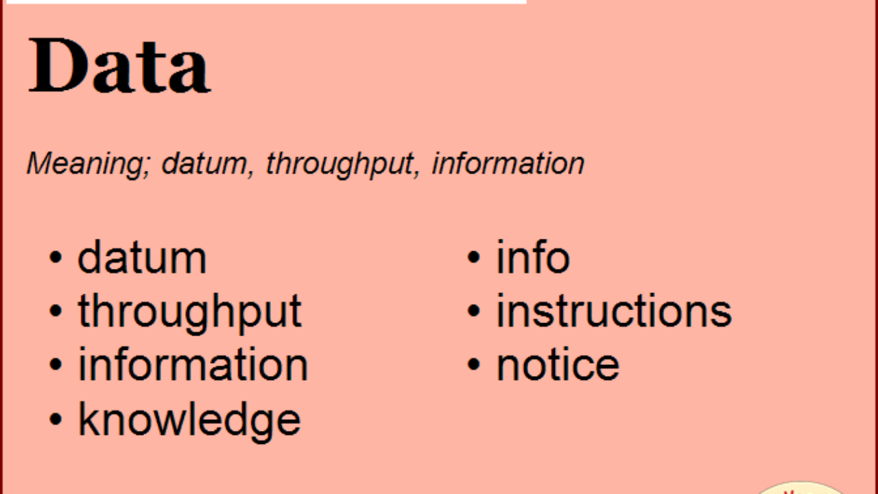 Synonym for Data, what is synonym word Data   English Vocabs