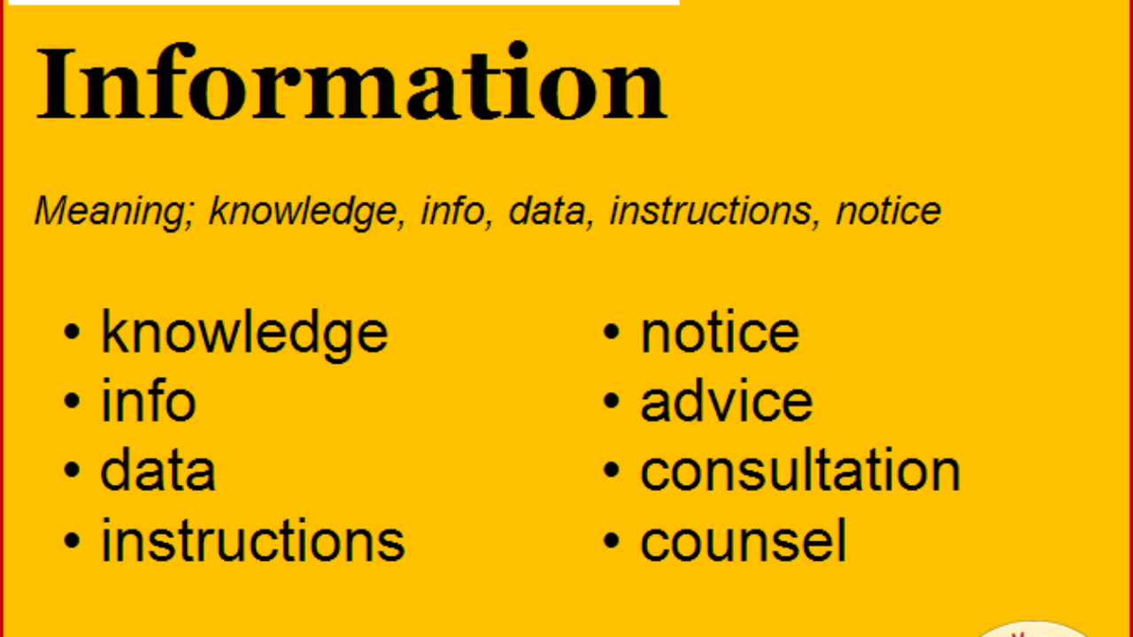 Synonym for Information, what is synonym word Information ...